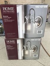 Home Decorators 1-Light Brushed Nickel Wall Sconce w/ Clear Glass Shade