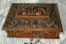 "Antique 19thC French Gothic Carved Oak Dresser~Jewellery Box~Casket 13.75""Across"