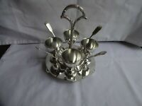 Vintage Silver Plated Set of 4 Egg Cups & Spoons on Stand Fenton Bros. Sheffield
