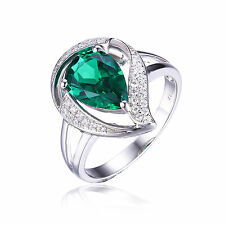 1.5ct Stunning Created Emerald & Cubic Zirconia Pure Sterling Silver Ring Size 8