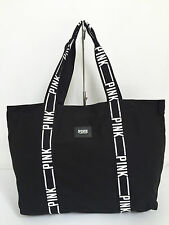 BNEW Authentic PINK By VICTORIA'S SECRET Large Canvas Tote Bag Black FREE SHIP