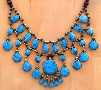 Blue Turquoise Bib Necklace Afghan Kuchi Ethnic Cassidy Bubble Tribal Jewelry