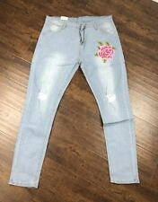 NWT Alinda SZ3X Floral Denim Ankle Jeans Ripped