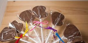 Pug dog Belgian chocolate lollies/lollipops x 8 parties, Mothers day/thank you