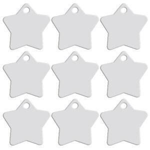 20pcs/lot Silver Star Shape Dog Tags Disc Aluminum Custom Pet ID Name Collar Tag