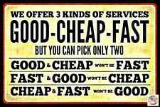 "3 PACK! NEED FAST SERVICE? METAL SIGN 8""X12"" USA MADE FUNNY GARAGE SHOP MAN CAVE"