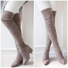 Womens Lady Over The Knee Boot Vintage Suede Low Heels Chunky Sexy Boots Size