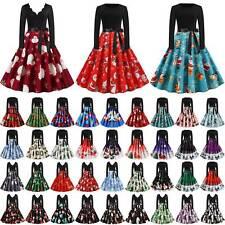 Weihnachten Damen Rockabilly Kleid Petticoat Klassisch Partykleid Skaterkleid DE