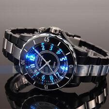 New Men's LED Light Waterproof Black Stainless Steel Sport Quartz Wrist Watch