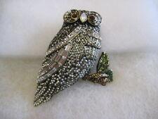 "HEIDI DAUS ""Snowy Owl"" (On A Branch) Frosty-Look Crystal Pin (Orig.$189.95)"