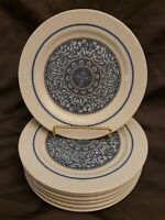 "SET OF 7 NORITAKE COOK N SERVE 2151 CIELITO LINDO 7-5/8"" SALAD OR SNACK PLATES"