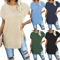 Summer Women Crew Neck Blouse Ladies Loose Casual T Shirt Tops Female Blouse