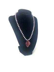 Vintage Sterling Silver 925 Cultured Pearl Tourmaline PET Design Necklace #1839