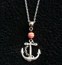 "Anchor Necklace 24"" Chain Red And White Stripe Charm Bead Rockabilly Vintage UK"