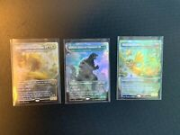 MTG Ikoria Lair of Behemoths Lot of 3 King Caesar, Godzilla, Dorat, Foil! Mythic