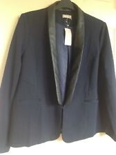 A/wear, JACKET, NAVY WITH BLACK FAUX LEATHER ! SIZE 18