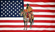 USA INDIAN on a HORSE FLAG 5' x 3' US America American Line Dancing Collectors