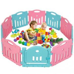 Baby Playpen Play Yard Safety Kids Infants Home Indoor 10 Panel Baby Fence Door