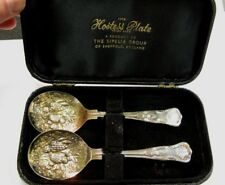 "SHEFFIELD HOSTESS PLATE Boxed Pair 5.5"" Gilded Berry Spoons ca1940's"