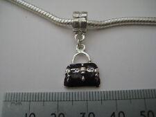 Silver Plated Dangle 'Black Handbag' Charm - Fit European Bracelets