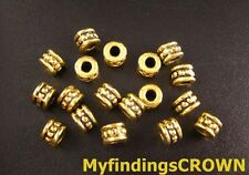 120pcs Antiqued gold beaded barrel spacer beads 6mm