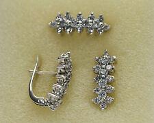 jem: WATERFALLS DIAMOND EARRINGS & RING SET in FINE SILVER