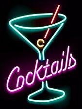 Cocktails Neon Print, Retro Metal Sign/Plaque, Pub Bar Man Cave, Home decor
