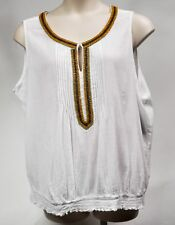 St. John's Bay Woman Tunic Top Blouse White Wood Beading Embellishment Size 3X