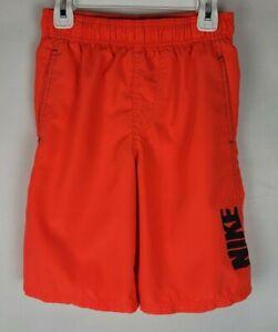 Nike Youth Boys Size Medium Orange Spell Out Swish Two Pockets Swim Trunks