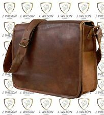 "Leather Handmade Designer J Wilson Bag Vintage Flapover 13"" Laptop Messenger"
