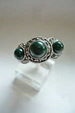 Poderosa + grande piedra joyas anillo dkl. verde + pedrería tíbet plata NUEVO + Top #007