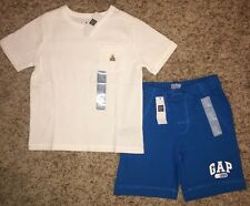 NWT Baby Gap Boy 4T 4 YRS Logo Short Sleeve Shirt Shorts Outfit Blue White