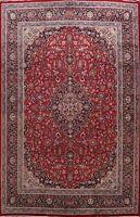 Vintage Floral RED Kashmar Area Rug Hand-knotted Oriental Wool Carpet 10x13 ft