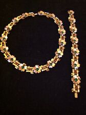 Vintage 1940s Trifari Philippe Rhinestone Flower Necklace Bracelet Set Very Rare