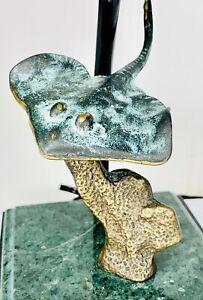 "San Pacific Int'l Stingray Light/ Lamp SPI Sculpture Light Bronze Brass 9"" H"