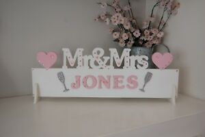 Personalised MR & MRS Table Top Sign ANY SURNAME Pretty Unique Keepsake Gift