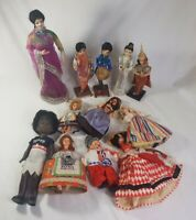 Bulk Lot 12 Vintage Assorted Dolls Italy Fiji Russia England Malay Costume Doll