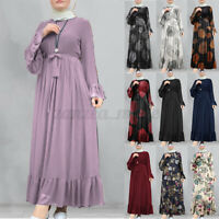 Women Long Sleeve Abaya Islamic Caftan Dubai Long Robe Gown Maxi Dress Plus Size