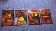 Bücherregal/Blumenmotiv-4  DDR AK 300369/87--ungelaufen-BB 611975/77/79/80