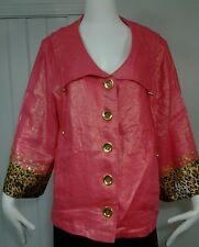 Berek Beaded Metallic Pink Linen Sequined Coral Pink Leopard Cocktail Jacket 1X
