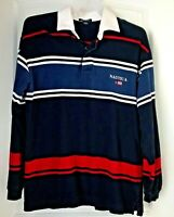 NAUTICA  Mens L Blue White Red Long Sleeve Rugby Polo Shirt