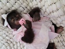 "CUTE SLEEPING ROOTED 18"" KIWI MONKEY REBORN BABY GIFT BAG BY SUNBEAMBABIES"