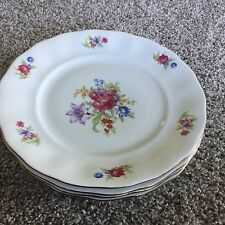 VINTAGE CHINA ~ JANOLINA Made in POLAND ~ RED ROSE 5 bread plates