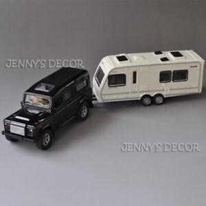 1:36 Diecast Car Model Toys Rover Defender w/ Trailer Camper Van Boat Pull Back