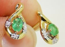 9ct Gold Emerald Diamond Stud Earrings - NEW - Solid 9 Carat 9K Gold