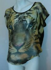 Papaya Top M Silky Sheer Lion Tiger Face Shirt with Rhinestone Eyes UNIQUE!!