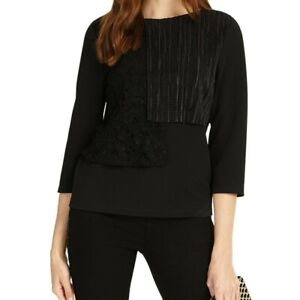 Phase Eight Ladies 10 Top Blouse Black Lola Lace Evening Round Neck NEW RRP £65