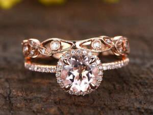 2 Ct Round Cut Morganite Wedding Engagement Ring Bridal Set 14k Rose Gold Over