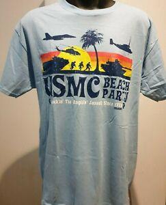 Battlespace 7.62 Design USMC Beach Party T-Shirt Size L Light Blue
