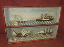 Antique Diorama Ship Model Maritime Nautical Folk Art